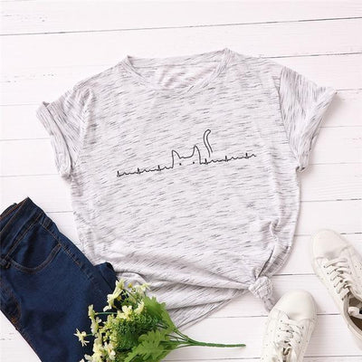 Heartbeat Cat Print T-Shirt Casual Kawaii Top #JU2492-Light Grey 2-4XL-Juku Store