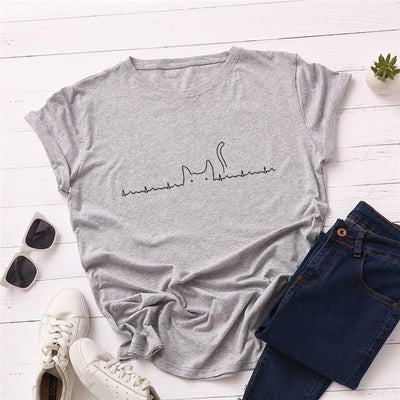 Heartbeat Cat Print T-Shirt Casual Kawaii Top #JU2492-Light Grey-4XL-Juku Store
