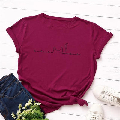Heartbeat Cat Print T-Shirt Casual Kawaii Top #JU2492-Magenta-4XL-Juku Store
