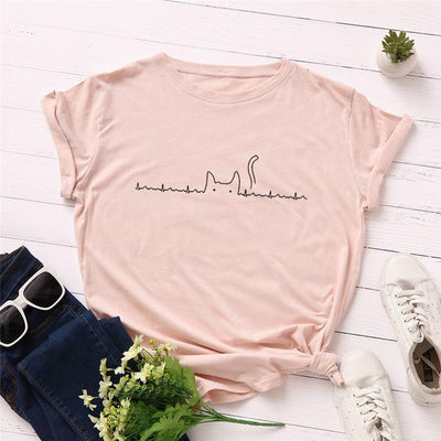 Heartbeat Cat Print T-Shirt Casual Kawaii Top #JU2492-Pink-4XL-Juku Store