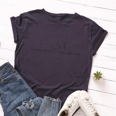 Heartbeat Cat Print T-Shirt Casual Kawaii Top #JU2492-Purple-4XL-Juku Store