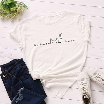 Heartbeat Cat Print T-Shirt Casual Kawaii Top #JU2492-White 2-4XL-Juku Store