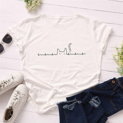 Heartbeat Cat Print T-Shirt Casual Kawaii Top #JU2492-White-4XL-Juku Store