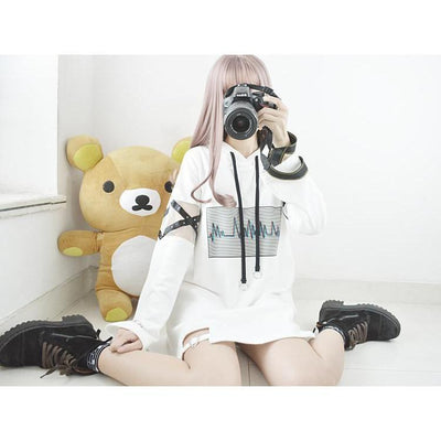Heartbeat Hoodie Kawaii Japanese Korean Sweatshirt #JU2389-White-S-Juku Store