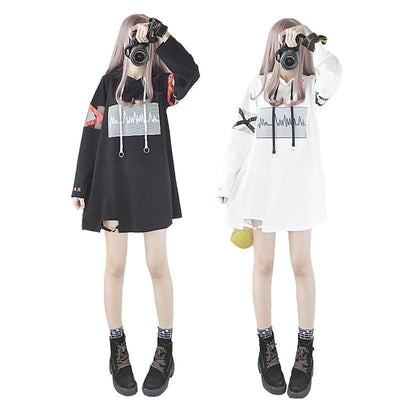 Heartbeat Hoodie Kawaii Japanese Korean Sweatshirt #JU2389-Juku Store