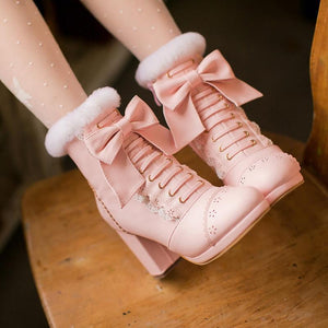 High Heeled Bow Lace Boots Lolita Shoes [3 Colors] #JU2219-Juku Store