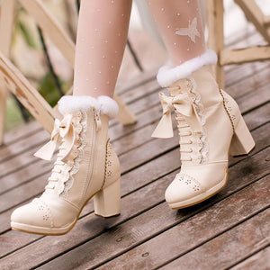 High Heeled Bow Lace Boots Lolita Shoes [3 Colors] #JU2219-Beige-6-Juku Store