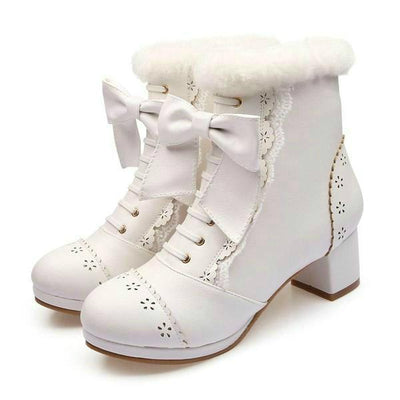 High Heeled Bow Lace Boots Lolita Shoes [3 Colors] #JU2219-White-6-Juku Store