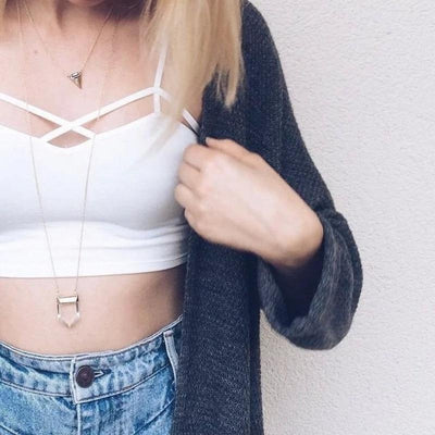 Hollow Out Cross Lace Tube Crop Top [2 Colors] #JU2215-Juku Store