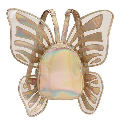 Holographic Butterfly Wings Backpack Kawaii Fashion Bag #JU2764-Gold-One Size-Juku Store