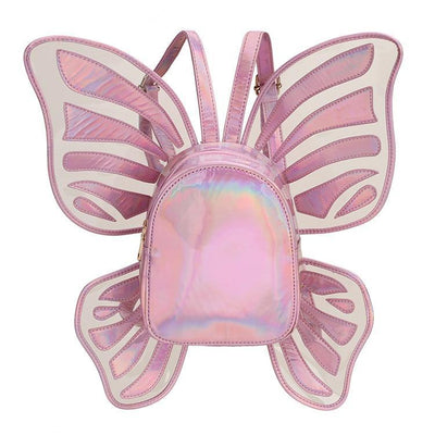 Holographic Butterfly Wings Backpack Kawaii Fashion Bag #JU2764-Pink-One Size-Juku Store