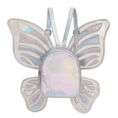 Holographic Butterfly Wings Backpack Kawaii Fashion Bag #JU2764-Silver-One Size-Juku Store