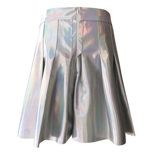 Holographic High Waist Mini Skater Skirt #JU2371-Juku Store