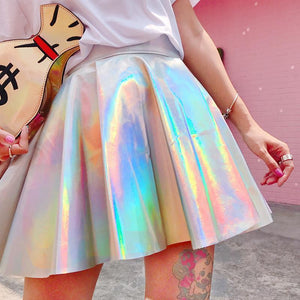 Holographic High Waist Mini Skater Skirt #JU2371-M-Juku Store