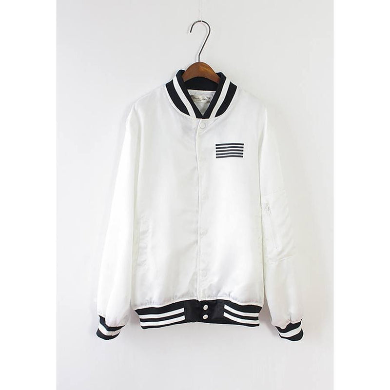(HOT!) KPOP Big Bang G-Dragon Baseball Jacket [2 Colors] #JU2304-Juku Store