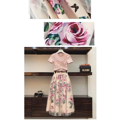 Irregular Bowknot Top and Floral Mesh Skirt Kawaii Dress #JU2645-Juku Store