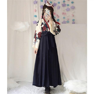 Japanese Floral Retro Style Kimono Kawaii Dress #JU2622-Black Long Set-S-Juku Store