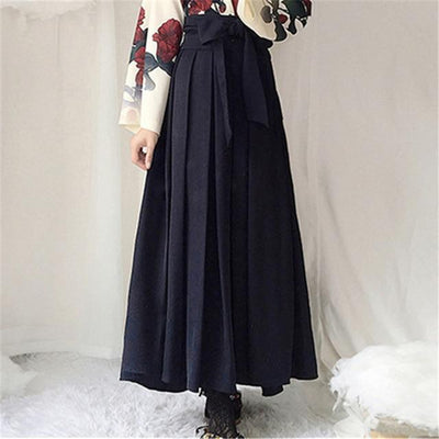 Japanese Floral Retro Style Kimono Kawaii Dress #JU2622-Black Long Skirt-S-Juku Store