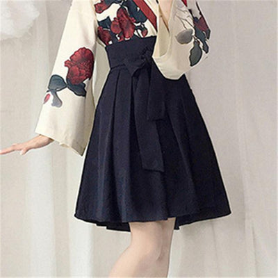 Japanese Floral Retro Style Kimono Kawaii Dress #JU2622-Black Short Skirt-S-Juku Store