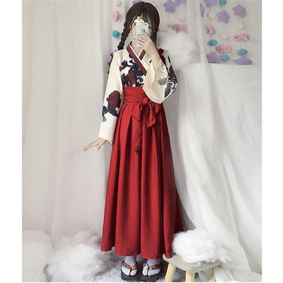 Japanese Floral Retro Style Kimono Kawaii Dress #JU2622-Red Long Set-S-Juku Store