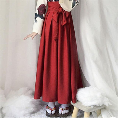 Japanese Floral Retro Style Kimono Kawaii Dress #JU2622-Red Long Skirt-S-Juku Store