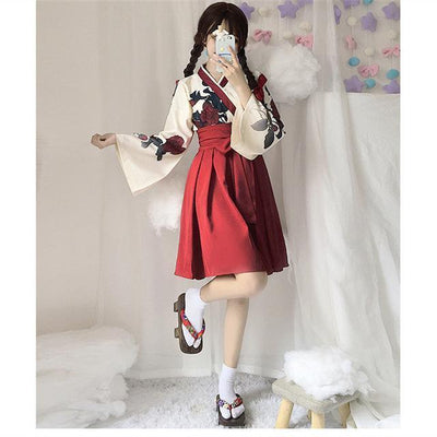 Japanese Floral Retro Style Kimono Kawaii Dress #JU2622-Red Short Set-S-Juku Store