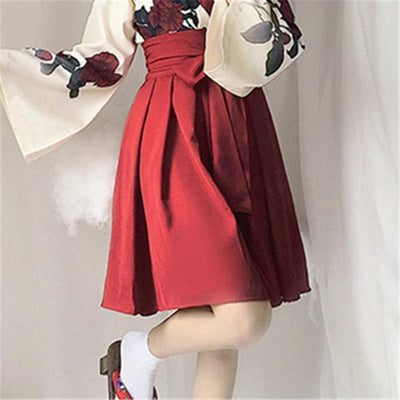 Japanese Floral Retro Style Kimono Kawaii Dress #JU2622-Red Short Skirt-S-Juku Store