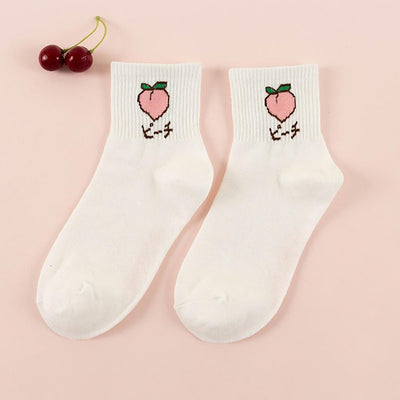 Japanese Fruit Design Cotton Socks [5 Styles] #JU2246-Peach-Juku Store