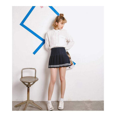 Japanese High Waist Pleated Schoolgirl Skirt [3 Colors] #JU1922-Juku Store