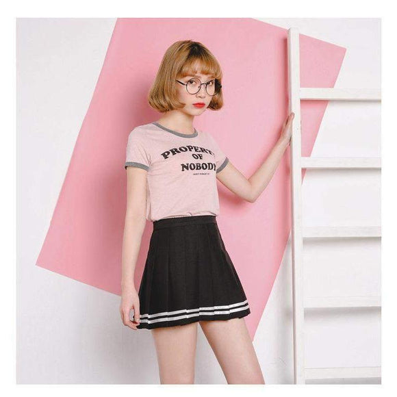 Japanese High Waist Pleated Schoolgirl Skirt [3 Colors] #JU1922-Black-S-Juku Store