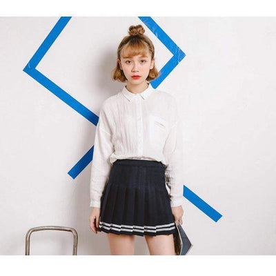 Japanese High Waist Pleated Schoolgirl Skirt [3 Colors] #JU1922-Navy-S-Juku Store