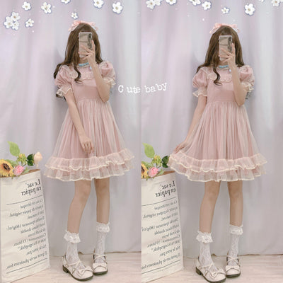 Japanese Lolita Puff Sleeve Kawaii Mesh Fairy Dress #JU2594-Juku Store