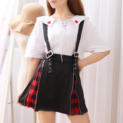 Japanese Plaid Suspender Skirt w/ Side Zipper & Buckles #JU2146-Juku Store