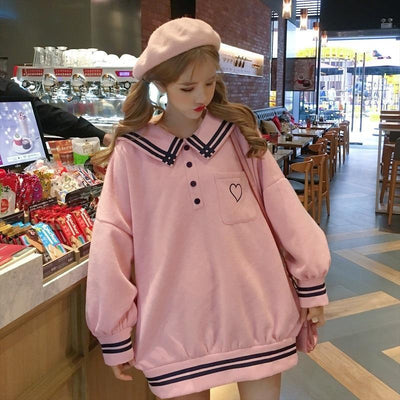 Japanese Sailor Collar Oversized Sweater Harajuku Pullover #JU2619-Juku Store