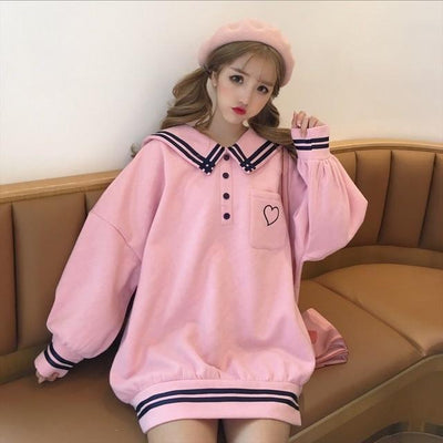 Japanese Sailor Collar Oversized Sweater Harajuku Pullover #JU2619-Pink-One Size-Juku Store