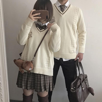 Japanese School Uniform V-neck Sweater #JU2241-Juku Store