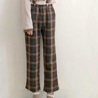 Japanese Vintage Style Shirt High Waist Suspender Skirt/Pants [2 Styles] #JU2352-Jumpsuits-One Size-Juku Store