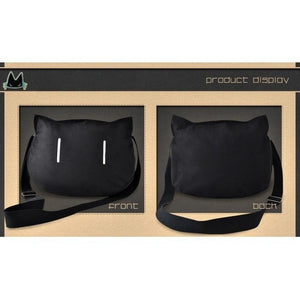 Jet Black Kawaii Cat Messenger Bag / Shoulder Bag #JU1808-Juku Store