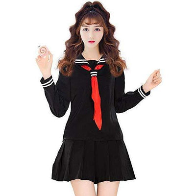JK Japanese School Sailor Uniform 3 Pc Cosplay Set [3 Colors] #JU1854-Black Set-S-Juku Store
