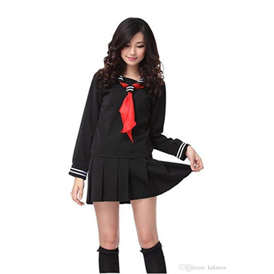 JK Japanese School Sailor Uniform 3 Pc Cosplay Set [3 Colors] #JU1854-Black Set With Socks-S-Juku Store