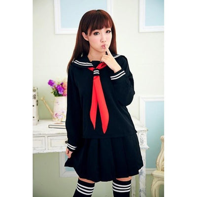 JK Japanese School Sailor Uniform 3 Pc Cosplay Set [3 Colors] #JU1854-Dark Blue Set-S-Juku Store