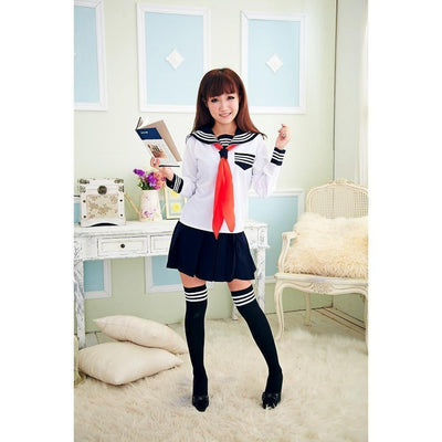 JK Japanese School Sailor Uniform 3 Pc Cosplay Set [3 Colors] #JU1854-Long Set With Socks-S-Juku Store