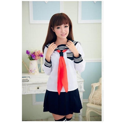 JK Japanese School Sailor Uniform 3 Pc Cosplay Set [3 Colors] #JU1854-Long Sleeve Set-S-Juku Store