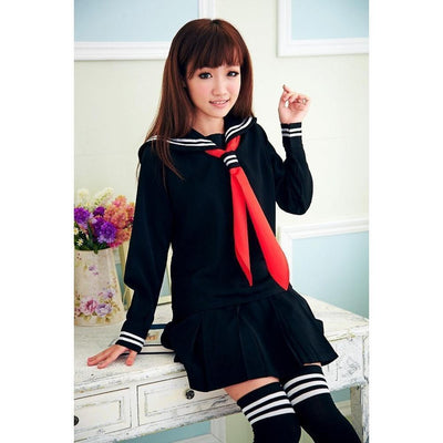 JK Japanese School Sailor Uniform 3 Pc Cosplay Set [3 Colors] #JU1854-Navy Set With Socks-S-Juku Store