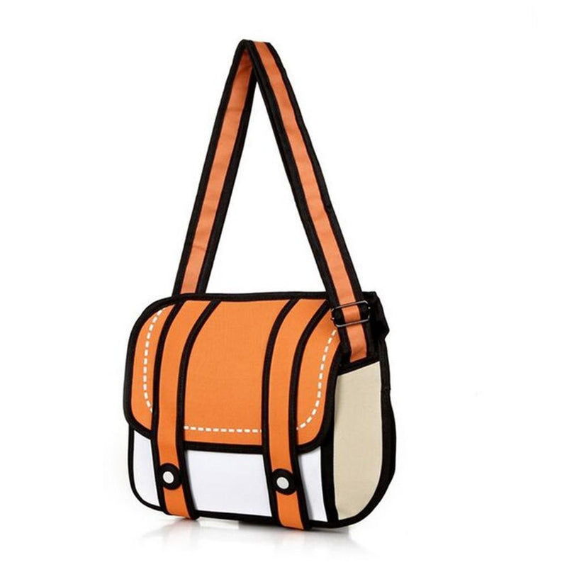 Kawaii 2D Anime Drawing Messenger Bag [5 Colors] #JU1826-Orange-Juku Store