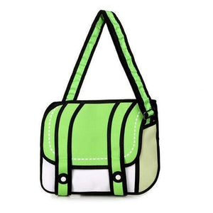 Kawaii 2D Anime Drawing Messenger Bag [5 Colors] #JU1826-Green-Juku Store