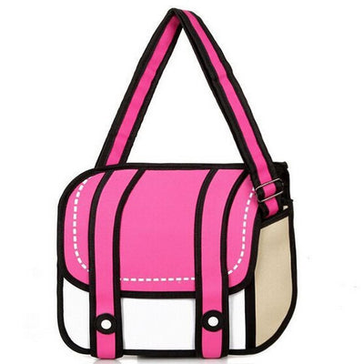 Kawaii 2D Anime Drawing Messenger Bag [5 Colors] #JU1826-Pink-Juku Store