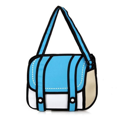Kawaii 2D Anime Drawing Messenger Bag [5 Colors] #JU1826-Sky Blue-Juku Store