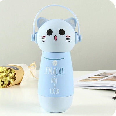 Kawaii Animal Head Stainless Steel Thermal Vacuum Bottle [3 Styles] #JU2169-Blue Cat-Juku Store