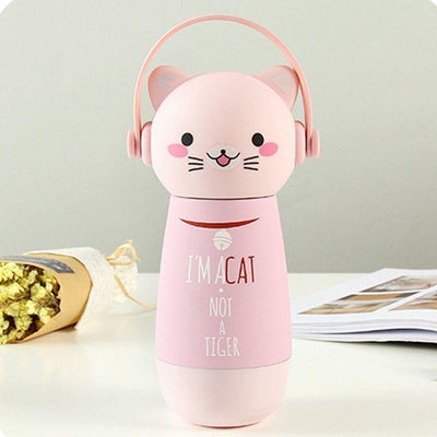 Kawaii Animal Head Stainless Steel Thermal Vacuum Bottle [3 Styles] #JU2169-Pink Cat-Juku Store